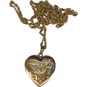 10 kt Gold Heart Locket/ 10 kt Gold Chain/ Engraved Flowers in White Gold Double Heart Photo Locket