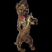Antique Bergman Boxer Dog Doctor Figurine Cold Painted Bronze  Medical Doctor