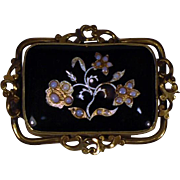 Mourning Brooch Black Enamel Inlaid Silver Gold Opal Floral Design  Victorian