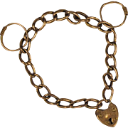 Antique English 9 ct Rose Gold Miniature Padlock Heart Bracelet/Pendant with Chain/Circles  Unusual: for Baby or Doll