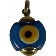 "Evil Eye Pendant 14 kt Gold (585)  Glass Eye Makers Mark  ""One of a kind"""