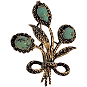 Antique Brooch  English Turquoise/Sterling Silver / Marcasite Brooch Cabochon Turquoise Gemstones STM& Co signed