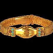 Georgian Fede Clasped Hands Gold Bracelet Jeweled Rubies Turquoises Rare Bracelet