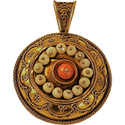 Antique  Etruscan Revival 14 kt Gold Mourning Pendant Orange Coral / Angel Skin Coral  1860's