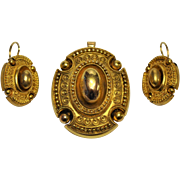 Victorian Etruscan Revival Mourning  Parure 18 kt gold Pendant /Earrings Granulation /Wirework/ Beading