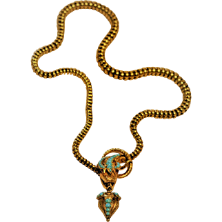 Antique 19th century 14 kt Gold/Jeweled  Snake Necklace  Persian Turquoises/ Garnet /Ruby  Ornate Fine Engraving