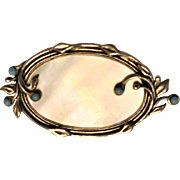 Art Nouveau French Sterling Silver / Jeweled / Mother of Pearl Brooch Hallmarked  C Clasp