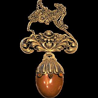 Antique Jugendstil 935 Silver/ Gemstone  Necklace Signed  Art Nouveau   J.W.   Jasper  Carnelian