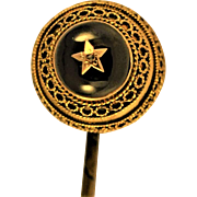 Antique Etruscan Revival  Diamond / Cabochon Garnet  14 kt Gold Stickpin Star Fine  Gold Twisted Wirework