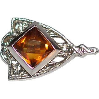 Art Deco 14 kt White gold/ Madeira Topaz Stick Pin  Classic 1920's Filigree work Shield Shape  American
