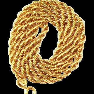"Vintage 10 kt Yellow Gold Multi Circle Link Chain   18""  Long Fancy Design Older"