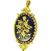Superb Victorian English Gold Onyx Pendant Brooch Bouquet of Three Dimensional Gold Flowers signed  TAR 375