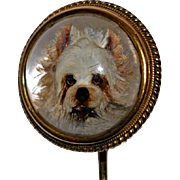 Antique Essex Crystal Intaglio Westie Terrier 18 kt gold Stickpin  1800's Scottish White West Highland Terrier