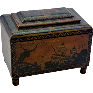 Georgian Penwork Tea Caddy Box Intricate Chinoiserie Decoration C1800