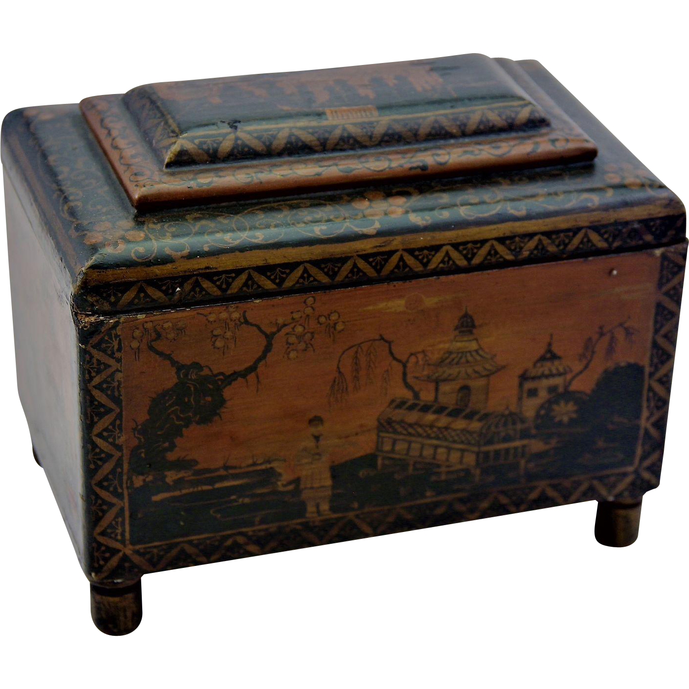 georgian penwork tea caddy box intricate chinoiserie decoration c1800 from cambridge antiques on. Black Bedroom Furniture Sets. Home Design Ideas