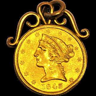 Antique American 1845 FIVE Dollar 24 kt GOLD Coin Pendant  EAGLE  Pre-Civil War
