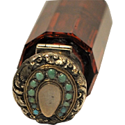 Victorian Jeweled Sterling Silver Ruby Glass Gold  Horseshoe Perfume Bottle Turquoise Gemstones Double Ended
