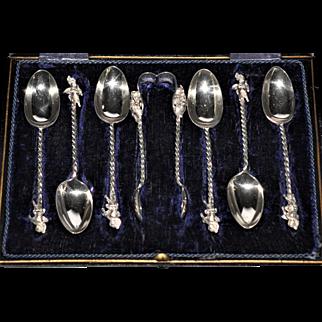 Victorian  C1894 Sterling Silver Cherub Putti Spoon Tongs Set in Box Beautiful