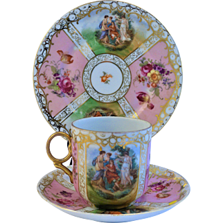 Antique China Cup Saucer Plate Trio Mythological and Floral Pink Roses  Hand Painted Sitzendorf / Czechoslovakia