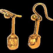 Edwardian Faceted Lemon Citrine/10kt Gold Earrings Shepherd Hooks Beautiful Dainty