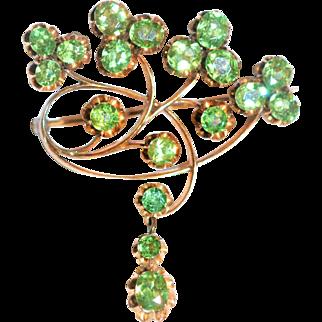Russian Art Nouveau  Faberge ( Michael Evlampievich Perchin) signed  Demantoid Garnet Brooch 14 kt Rose Gold