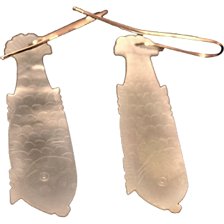 Antique Chinese Mother Of Pearl Fish Earrings 14 kt gold  Beautiful Carved designs.