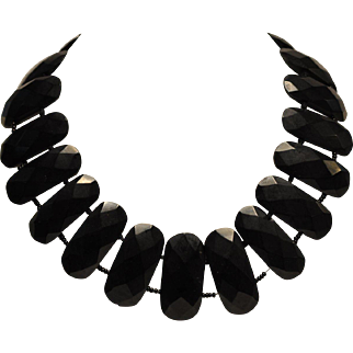 Antique Whitby Jet Massive Faceted Mourning Necklace 1800's Stunning!    Very wide   Rare One of a kind!