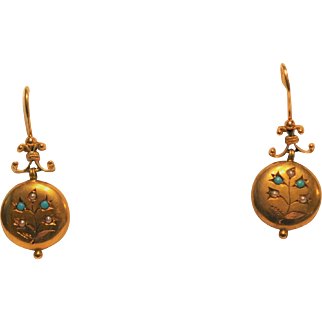 Victorian 14 kt Gold Turquoise Pearl Earrings Round  Button design Shepherd Hooks 1800's England
