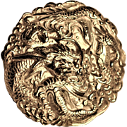 Antique  Chinese Imperial Court Silver Dragon  Button Very Large  Ferocious Swirling  Embossed Dragon