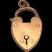 Antique 9 ct  Rose  Gold Heart Padlock for Bracelet England  Birmingham W.L& Co.
