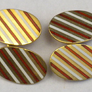 Antique English 18kt Gold  Red &White Enamel Cufflinks