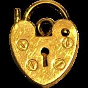 Antique 9ct Rose Gold Small Heart Padlock for Bracelet Maker   L. C   Sheffield 1883