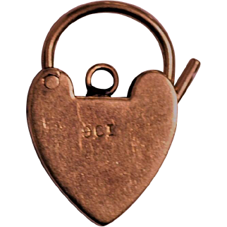 Antique 9ct Gold Heart Padlock from English Padlock Bracelet Medium Size  Local Estate collection