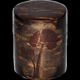 Japanese Cherry Bark Tea Caddie Carved Trees Signed