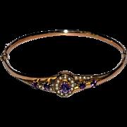 Edwardian Amethyst Seed Pearl  9 ct Rose Gold English Bangle Bracelet