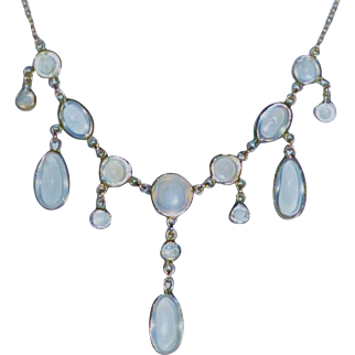 Antique  Moonstone 15 kt Gold  Necklace Drops  Ovals/ Teardrops/ Circles English  c1900  Stamped 585