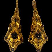 Georgian 14 kt  Engraved Gold Cabochon Garnet Earrings Huge Long w/ Shepherd Hooks  Rare