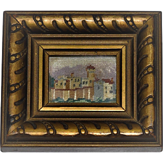 Vintage Dollhouse Miniature Picture Hand Embroidered  Fine Petit Point 1940's