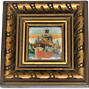 Vintage 1940's  Miniature  Dollhouse Picture  Fine Petite Point Embroidery Carved Frame