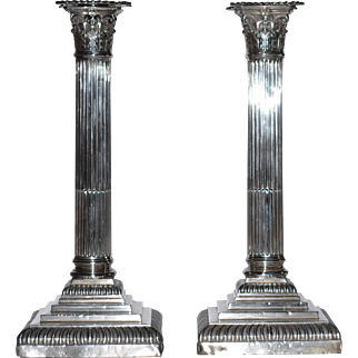 "Antique Sheffield England Sterling Silver Candlesticks Corinthian Columns  C1906  James Deakin & Sons   11 1/8""  Tall"