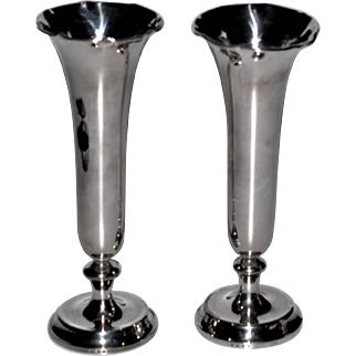 """Antique English Sterling Silver Classic Design Pair of Vases   7 1/4""""  London Hallmark  c 1911  Makers Mark RB"""