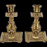 "Antique English Gargoyle/Lion Brass Candlesticks TOWNSHEND  & COMPANY  c 1890  Arts & Crafts Elaborate   8 1/4"""