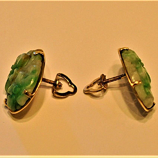 Antique Chinese Jade 14 kt Gold Earrings apple Green Jade Moss in Snow Pierced  Fine quality