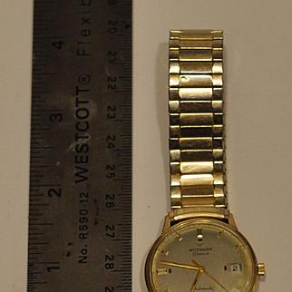 Vintage Wittnauer Mens Self Wind Wristwatch Automata   Spiedel Band 10kt RGP