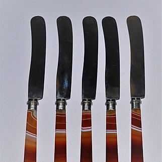 Antique Banded Agate Knife Set Sheffield Steel Blades Red Banded Agate