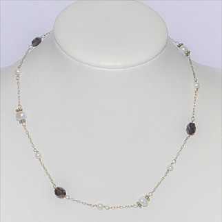 Vintage Signed Izumi  Garnet/Natural Baroque and Round Pearls  Sterling Silver Necklace  Japanese