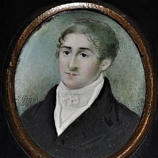 Georgian Portrait Miniature Signed  A. Groves  Sensitive Portrait of a Gentleman