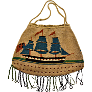 Georgian Sailors Work  Nautical Micro Beaded Purse 1700's Ships Brig Flags  Masts Sails smoke Rare