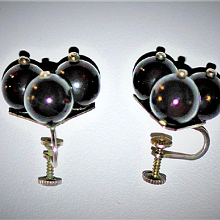Antique Genuine Cherry Amber Sterling Silver Earrings Late Victorian Cherry Amber Balls (tested) Unique Design