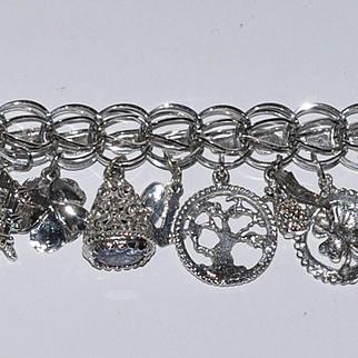 Vintage Sterling Charm Bracelet Wide Hearts